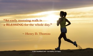 Quote An early morning walk is a blessing for the whole day by Henry Thoreau