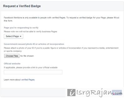 Facebook verification form