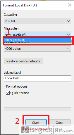 NTFS windows drive format