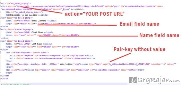 Mailchimp email form code