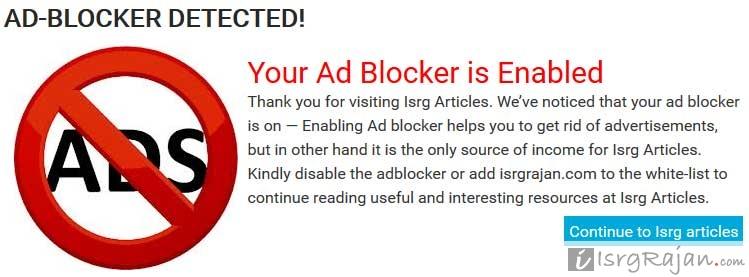 Ad Block Message