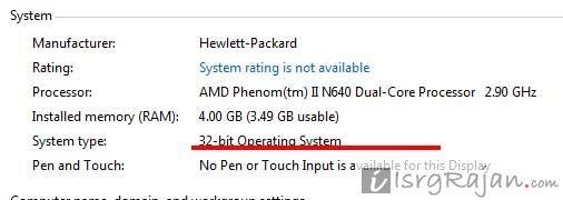 Windows 7 OS type 32-bit