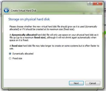 VirtualBox storage on physical disk drive