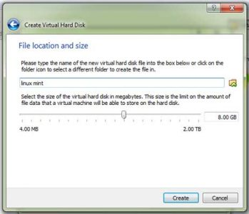On the File location and size window simply click on the Create button