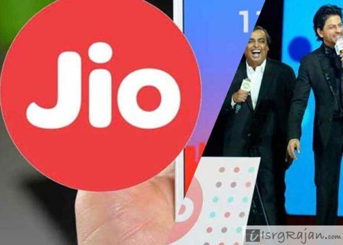 Reliance Jio chairman Mukesh Ambani with Shah Rukh Khan