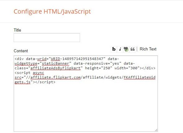 Adding Flipkart affiliate links to Blogspot