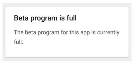 Beta Program is Full