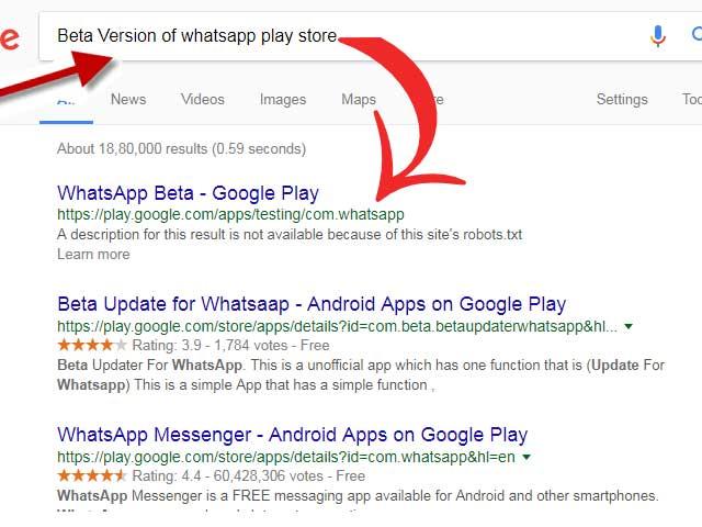 Google App beta version search