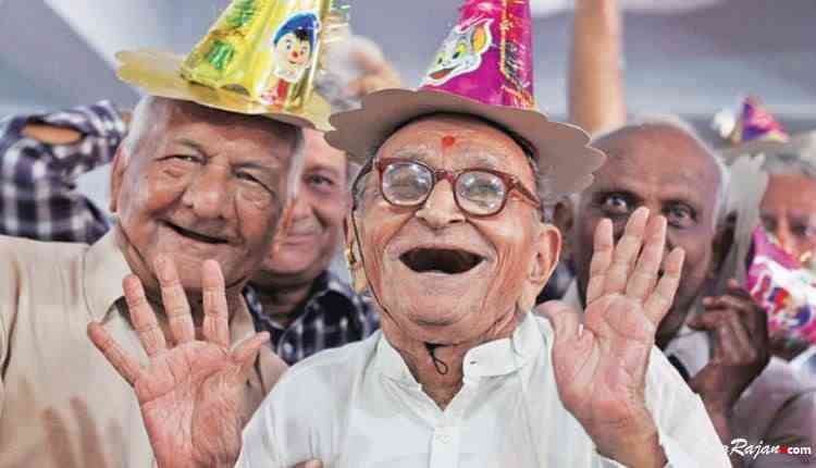 Old aged people birthday celebration