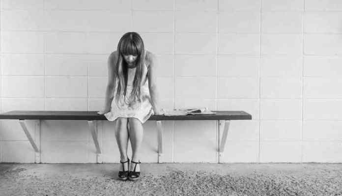 Worried Girl, Sitting, Black N White