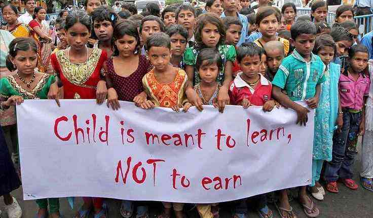 Child labour protest, child is meant to learn not to earn