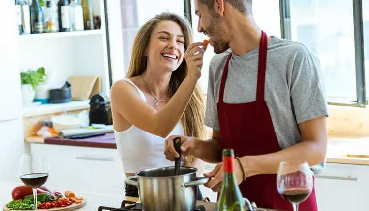 Couple cooking together, kitchen, cooking
