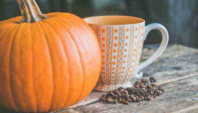 Pumpkin with Mug Coffe