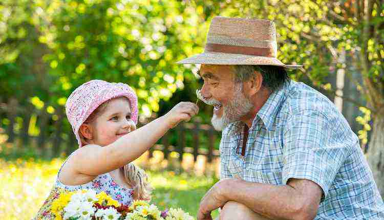 Smell, Child, Grandfather, Father, Flower