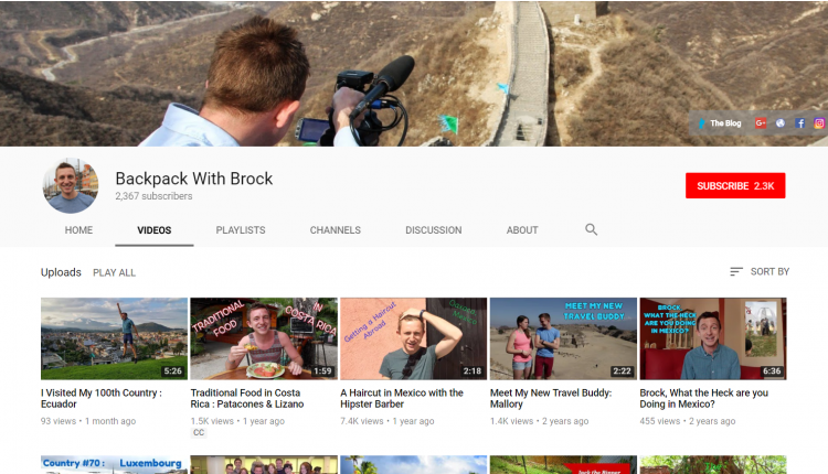 YouTube Channel for Wanderlust : Backpack with Brock