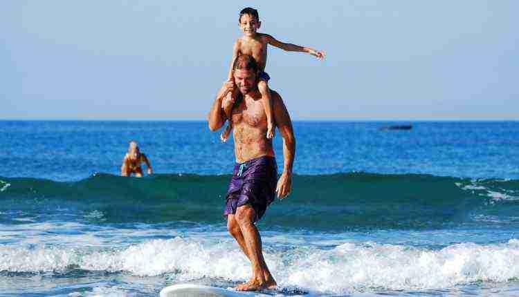 father, child, kid, surfing