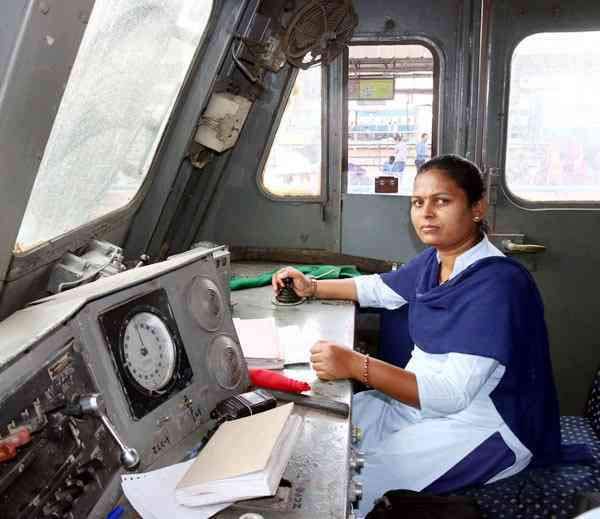 Indian woman train driver, loco pilot, Indian railways