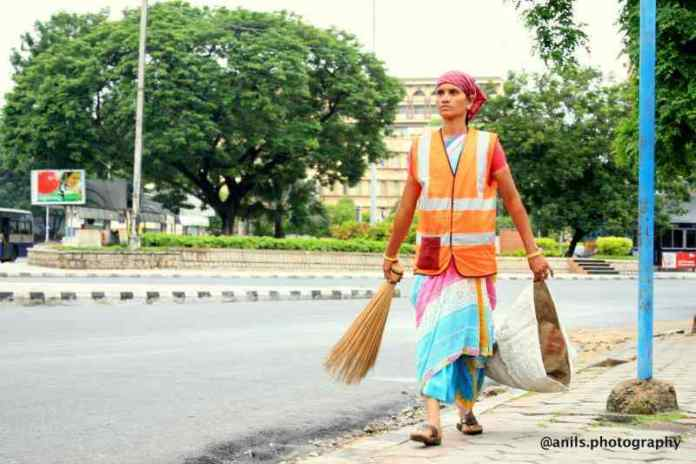 Indian street sweeper
