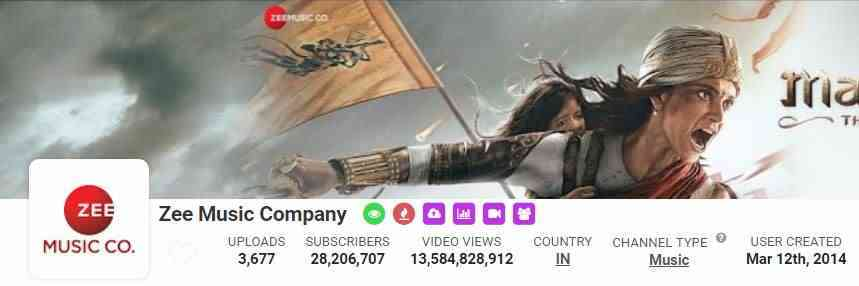 Zee Music Company,YouTube, Followers