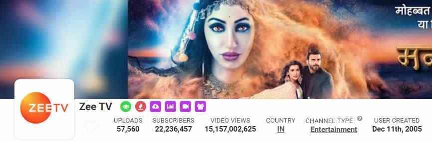 Zee TV, YouTube, Followers