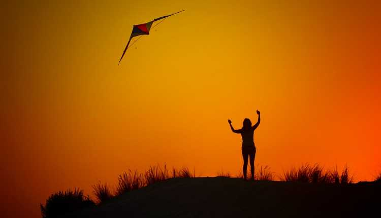 Flying Kite, Girl, Sunset