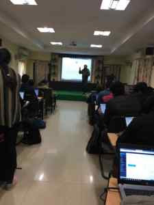 Isrg Rajan organsing workshop at delhi university college