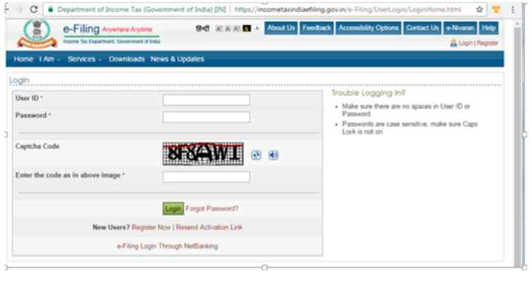 2. Linking through income tax website with log-in