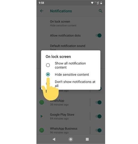 Android hide sensitive contents