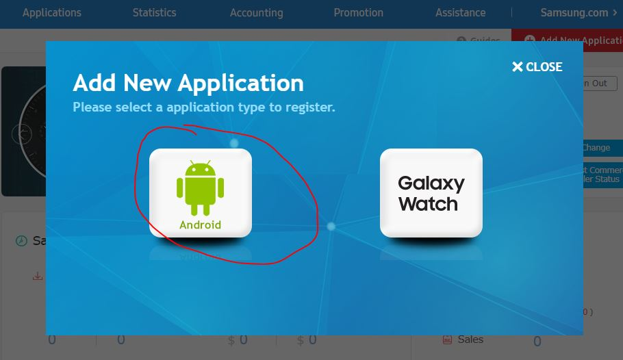 Galaxy store Application type