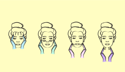 face massage, clip art, steps