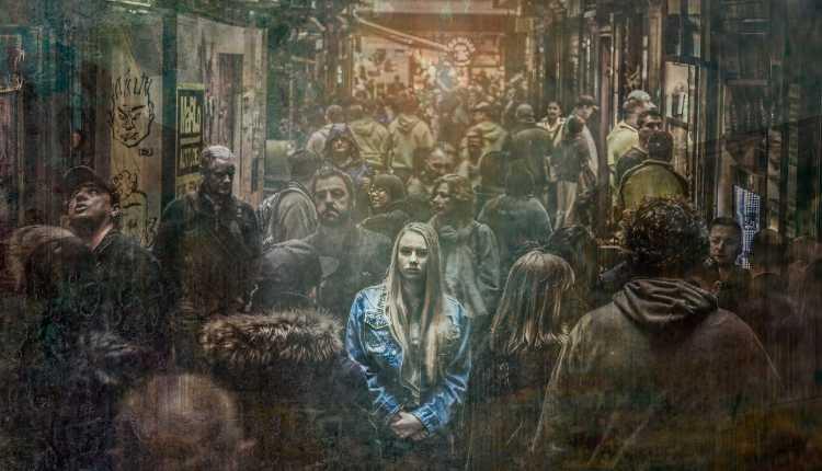 Depressed, Sad, Alone, Girl, Crowd