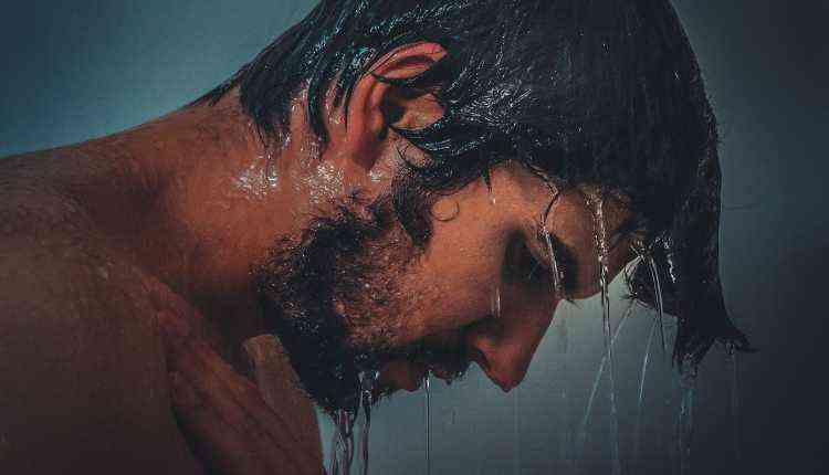 Man Bathing, Shower, Winter