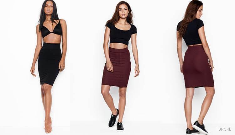 Victorias Secret Ribbed Midi Skirt