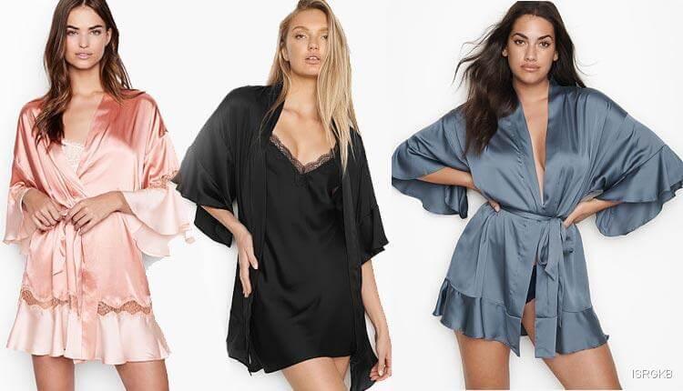 Victorias Secrets Flounce Satin Kimono