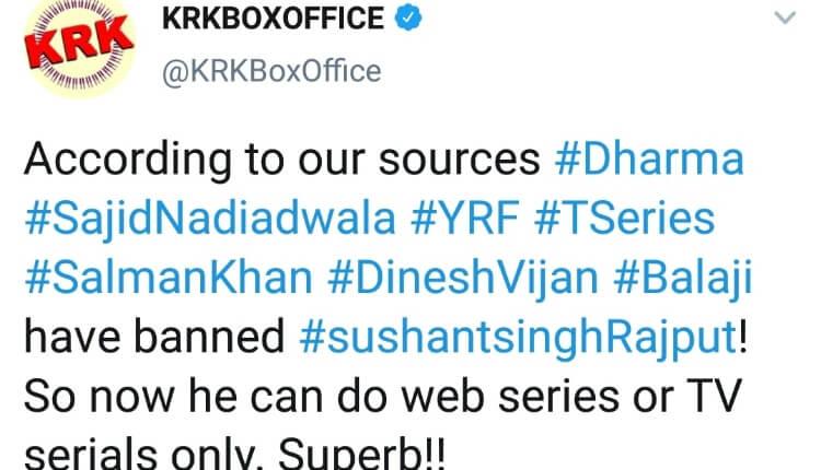 Dharma Production, Yrf, Salman Khan Banned Sushant Singh Rajpur, Twitter