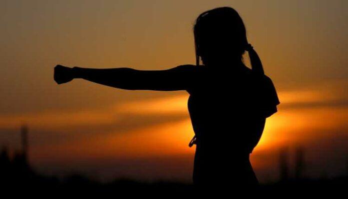 Karate, Ku Fu, Fighter, Girl, Exercise, Yoga, Girl, Sunset