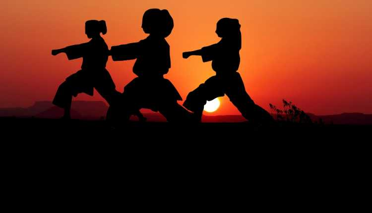 Karate, self defense, girls, yoga, exercise, sunset, group