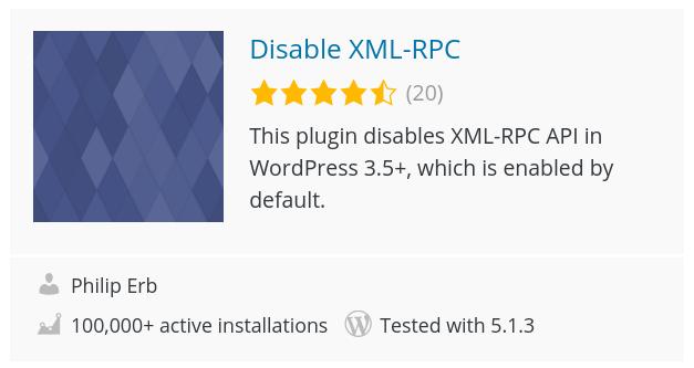 Disable Xmlrpc Plugin