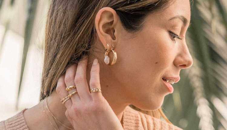 Chunky Ear Hoops And Layered Dainty Necklaces
