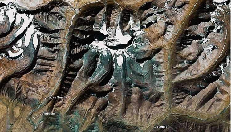 The Satellite View Of Mount Kailash Shows The Shadow Side Of The Kailash Himalayas Shiva Face