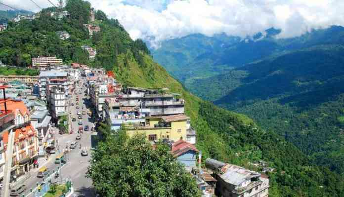 Sikkim, City, Hills, Road, People, Sky And Mountains