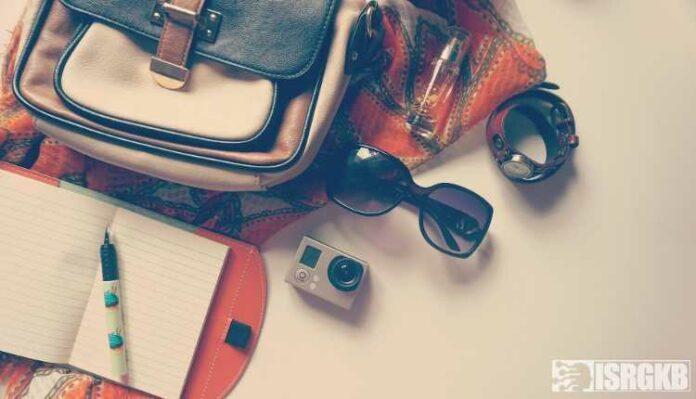 Purse, Handbag, Notebook, Pen, Goggles, With, Camera, Traveller