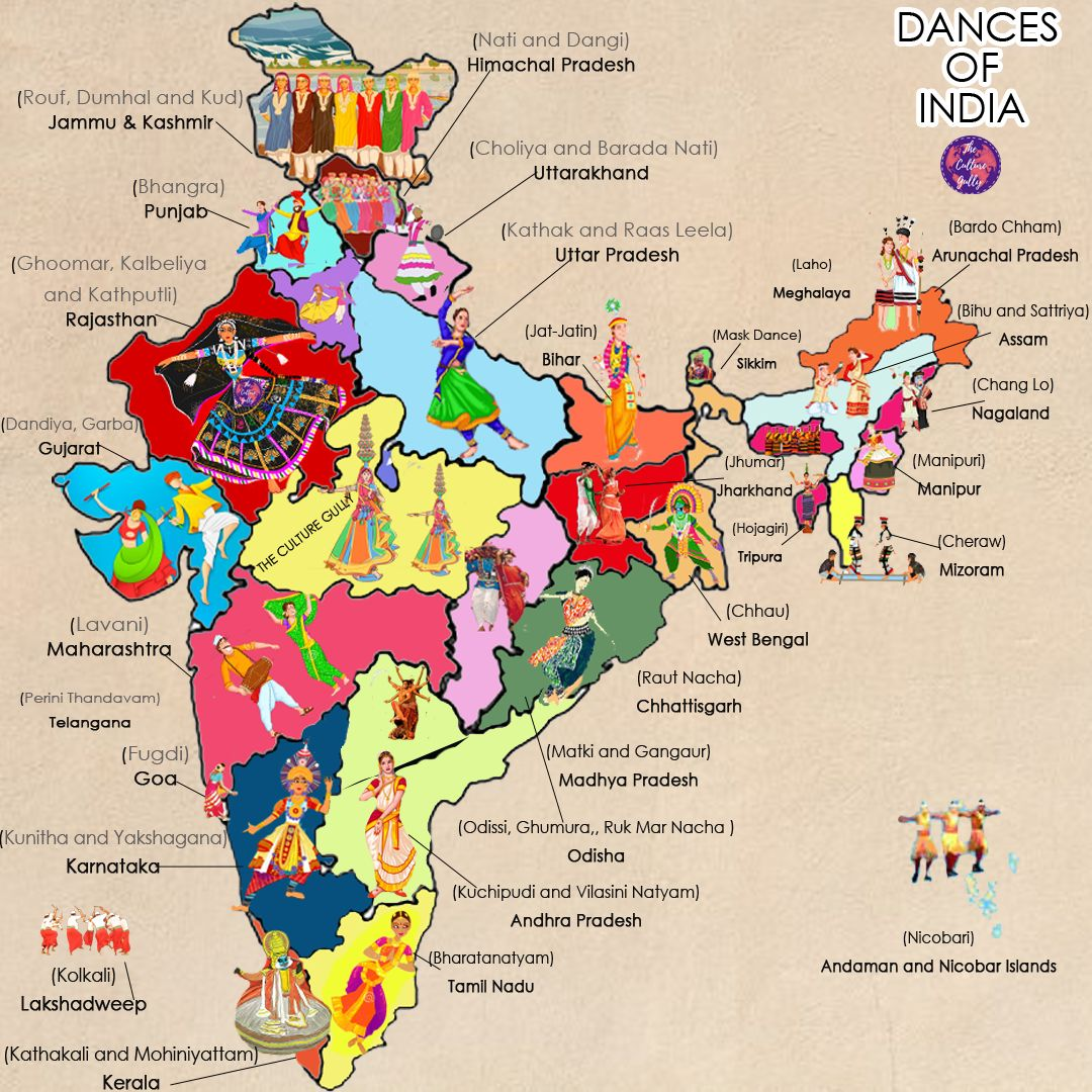Dances Of India, Dance Forms In India, State Wise, Map