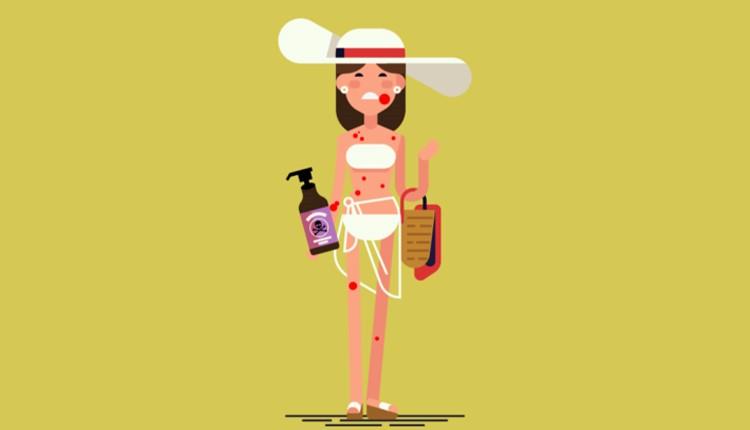 Sunscreen, Beach, Lotion, Sharing, Cartoon, Art, Vector